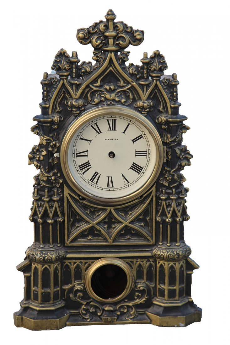 New Haven Heavily Decorated Bronze Mantle Clock