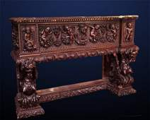 18th c  Baroque Heavily Carved Walnut Cassone Cabinet