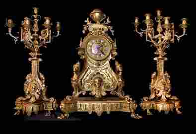 Monumental Rare 19th Century French Gilt Bronze Clock