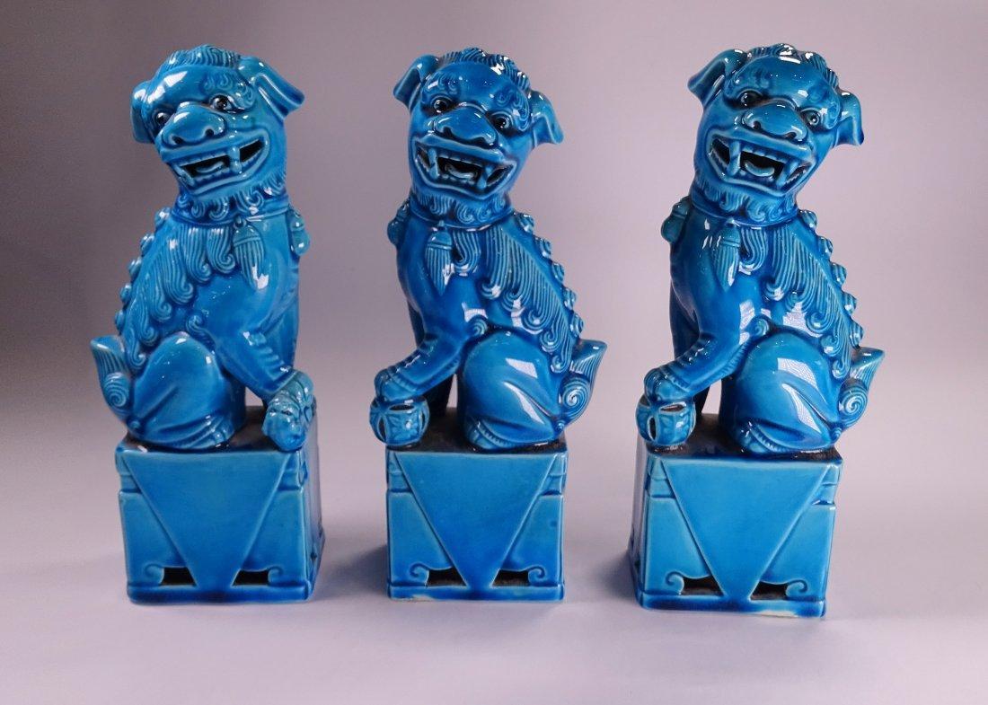 3 Ceramic Lion Sculptures