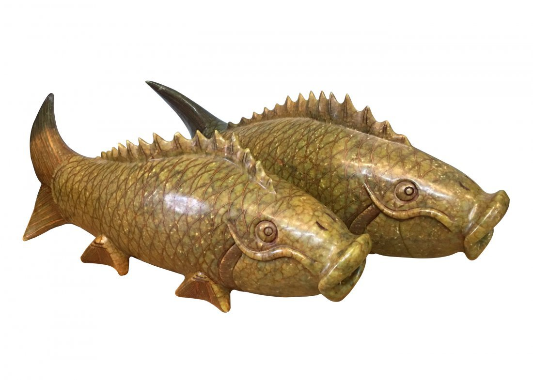 A pair of Jade Stone Fish Carving