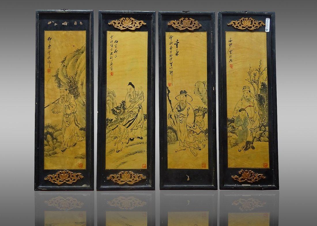 4 Woodcut Paintings