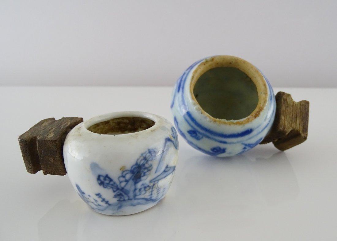 Blue and White Porcelain Bird Feed Bottles