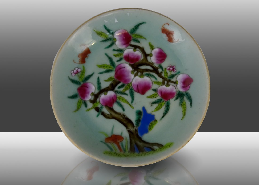 Famille Rose Peach Porcelain Plate