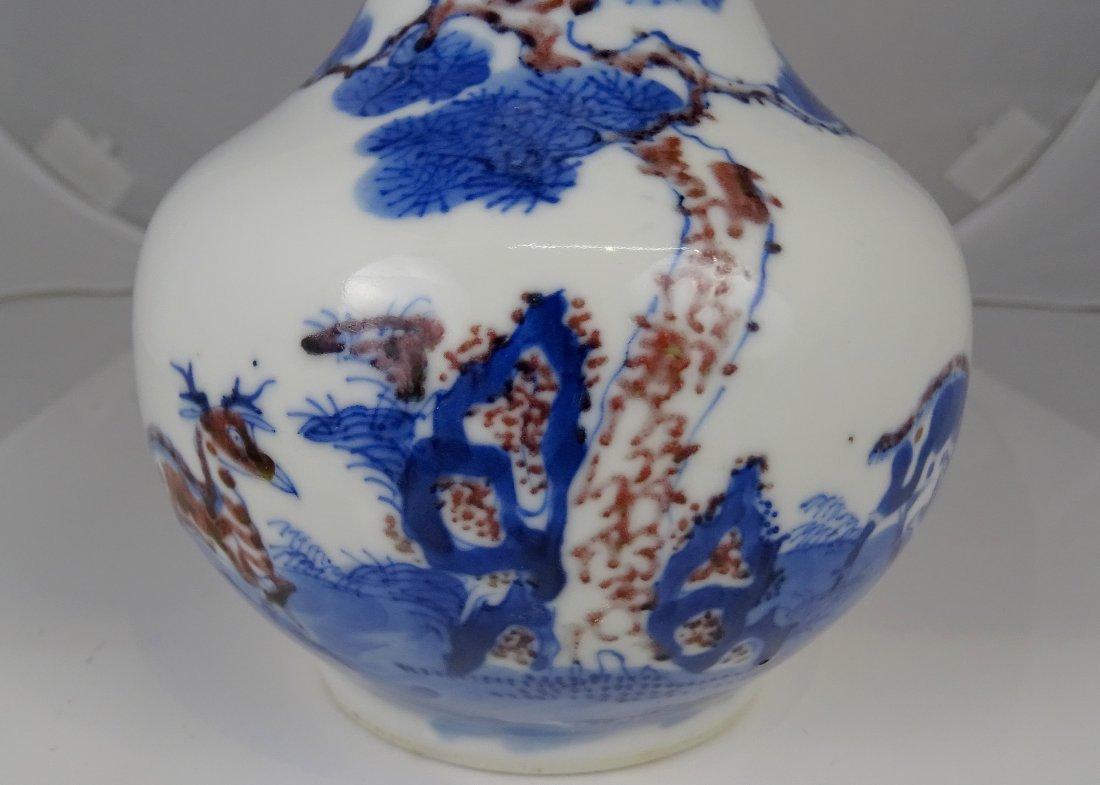 Pine Tree and Deer Patern Globular Vase - 2