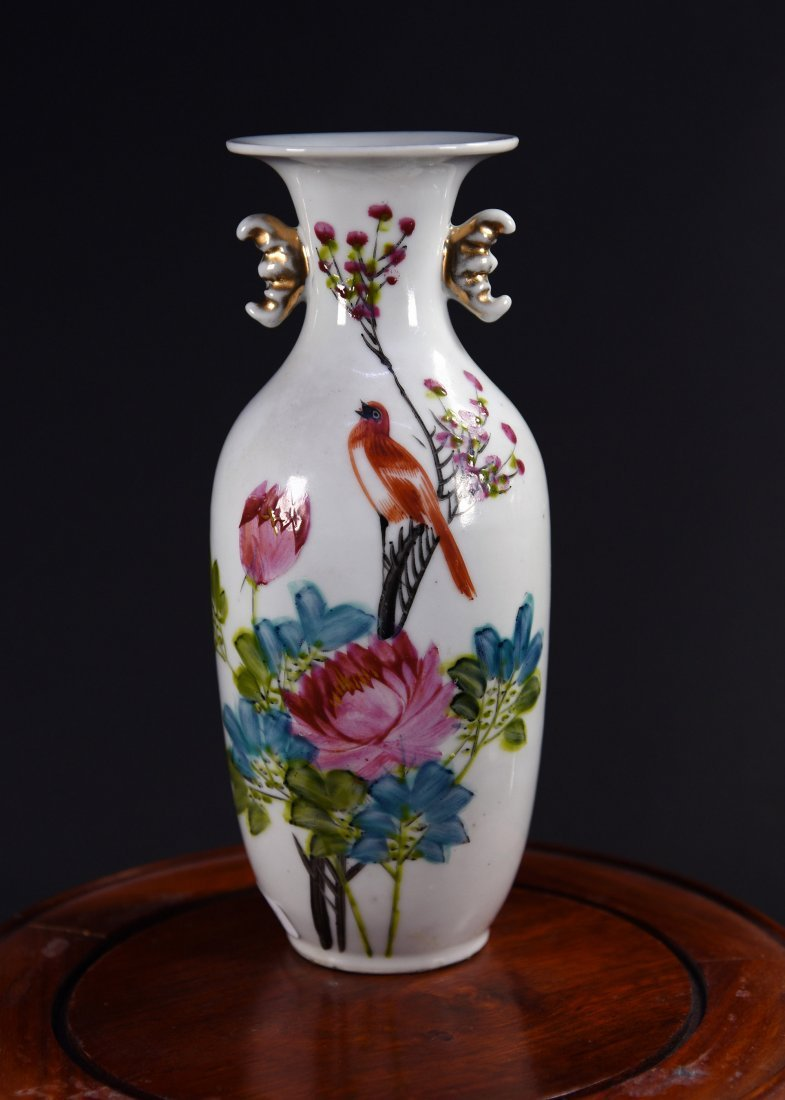 Guan Yin Vase with Flowers and Bird Pattern