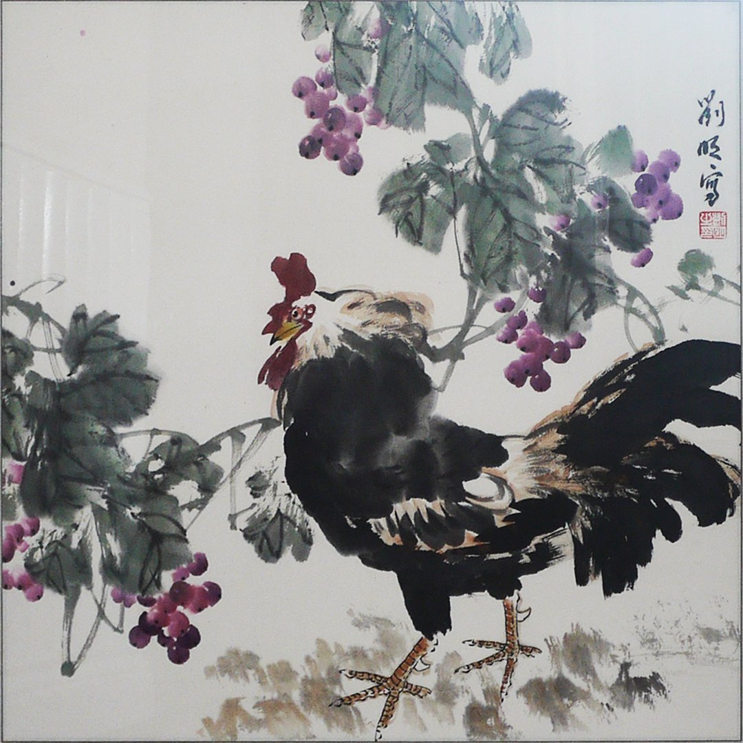 Liu Wang Chinese Painting-Rooster: 68*66cm