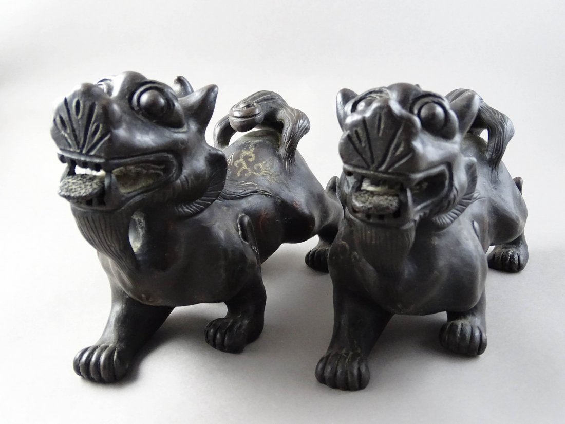 Pair of Red Ware Lions
