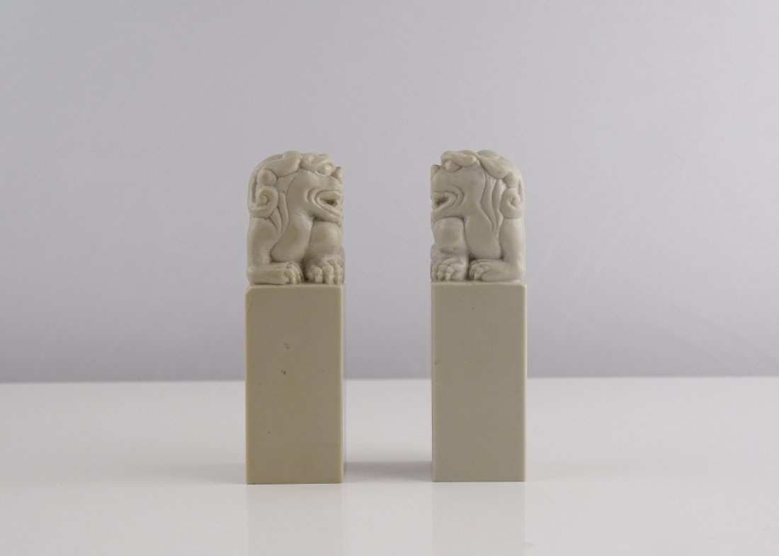 A Pair Of Qing Tian Stone Beast Seal