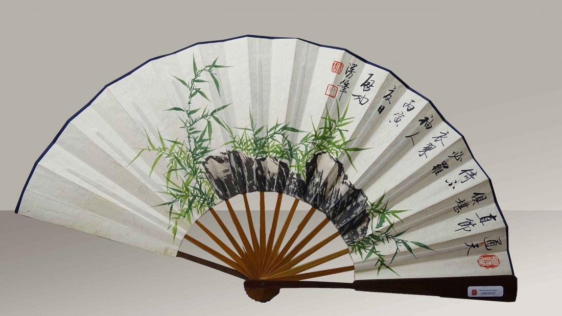 Chinese Ink Patinting and Calligraph on Fan-Qi Gong