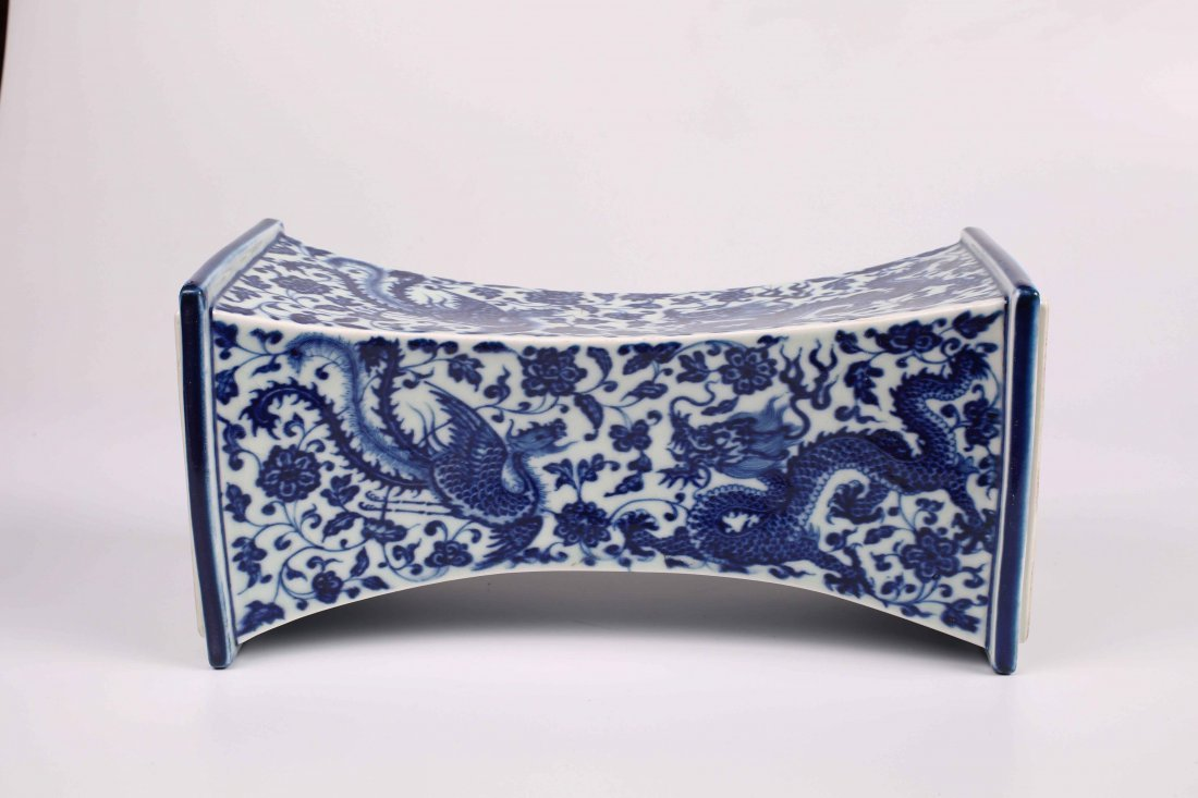 Qing Dynasty, Blue and White Glazed Dragon and Phoenix