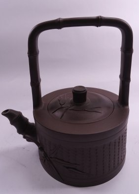 Purple Clay Teapot with Bamboo Carving