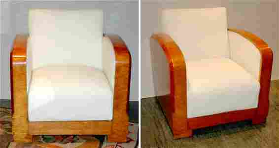 187: Pair of Art Deco Muslin Upholstered Fruitwood Armc