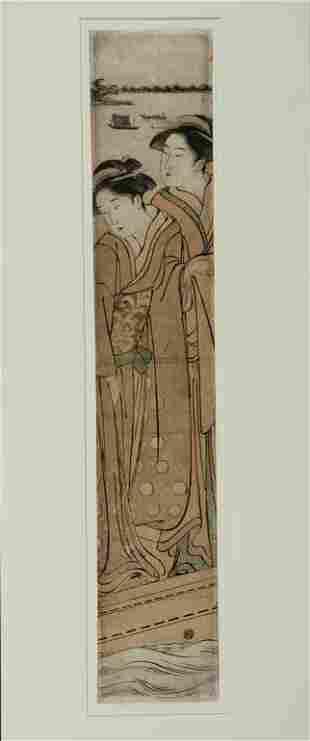 Japanese Woodblock Pillar Print, Katsukawa Shunsh