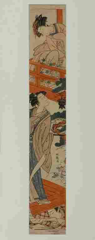 Japanese Woodblock Pillar Print, Isoda Koryusai