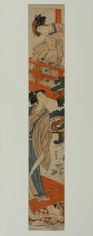 1009: Japanese Woodblock Pillar Print, Isoda Koryusai