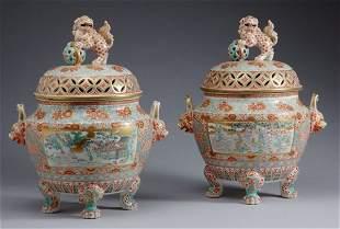 Pair of Japanese Kutani Porcelain Covered Censers