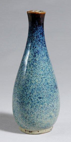 1018: Japanese Blue Glazed Pottery Bottle Vase