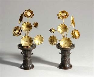 Pair of Japanese Bronze Flowers in Vases