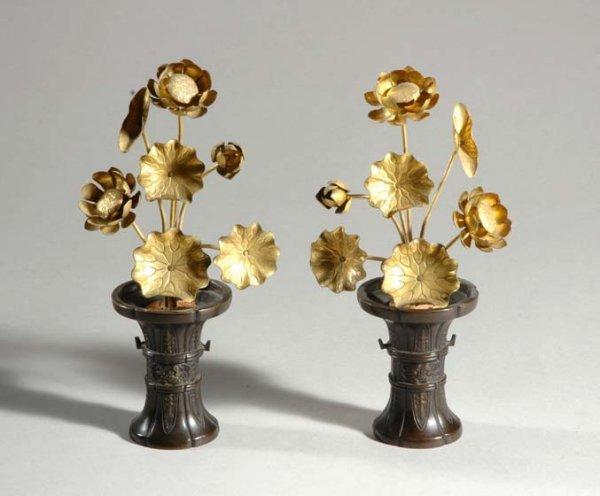 1021: Pair of Japanese Bronze Flowers in Vases