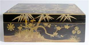 Japanese Black and Gold Lacquered Box