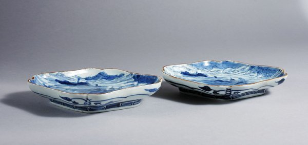 1023: Two Japanese Blue and White Porcelain Dishes
