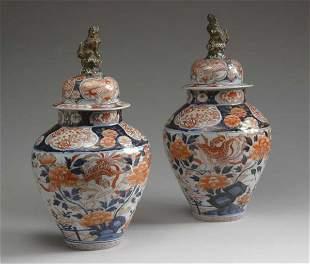 Pair of Japanese Imari Covered Vases