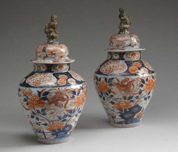 1024: Pair of Japanese Imari Covered Vases