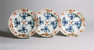 1107 Three Chinese Imari Porcelain Plates