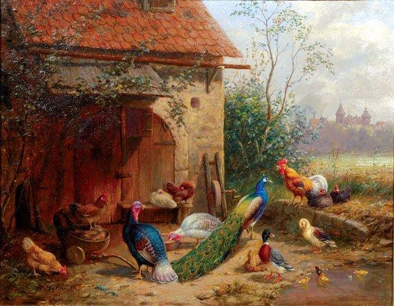 2005: A. Hofmann German, 19th century BIRDS IN A BARNYA