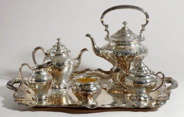 2230: Gorham Art Nouveau Sterling Silver Tea Service