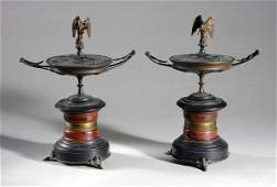 2467 Pair of Neoclassical Style Gilt and PatinatedBro