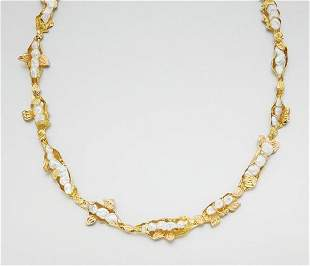 Gold and Baroque Cultured Pearl Necklace
