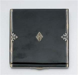 Art Deco Black Enamel and Diamond Case