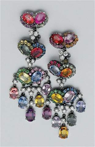 Pair of Multicolored Gem-Set and Diamond Pendant