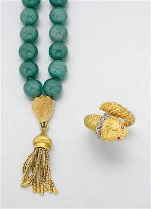 Gold and Diamond Ring and Aventurine Quartz Beads