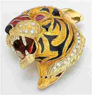 Enamel and Diamond Tiger's Head Clip Brooch