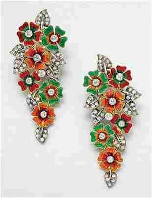 Pair of Enamel and Diamond Flower Earrings
