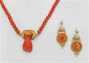 Antique Coral Bead Necklace and Pair of Earrings