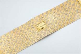 Tricolor Gold Cuff Watch Bracelet