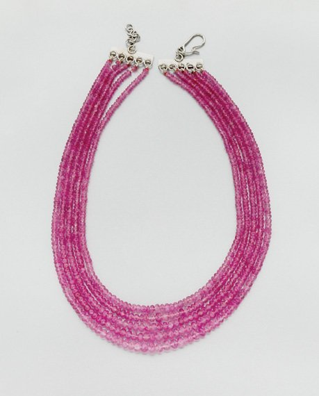 3024: Five Strand Pink Sapphire Bead Necklace