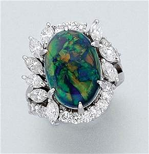3102: Black Opal and Diamond Ring