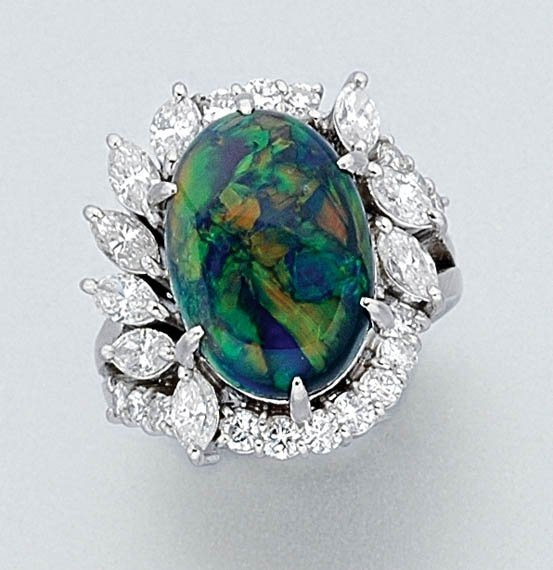 3102: Black Opal and Diamond Ring