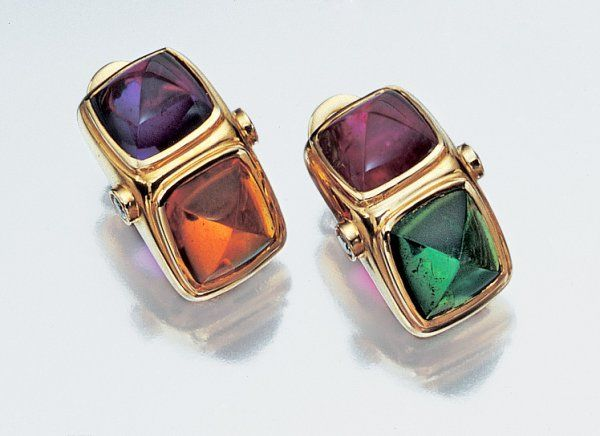 Pair of Gold, Cabochon Colored Stone and Diamond