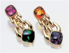 3490 Pair of Gold and Colored Stone Pendant Earclips