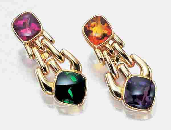 Pair of Gold and Colored Stone Pendant Earclips