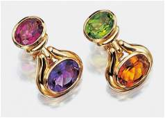 Pair of Gold and Colored Stone Earclips