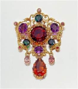 3594: Gold and Gem-Set Pendant Brooch
