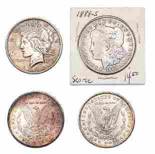 Group of Morgan and Peace Silver Dollars
