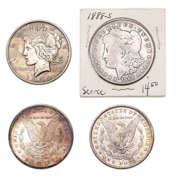 1003: Group of Morgan and Peace Silver Dollars